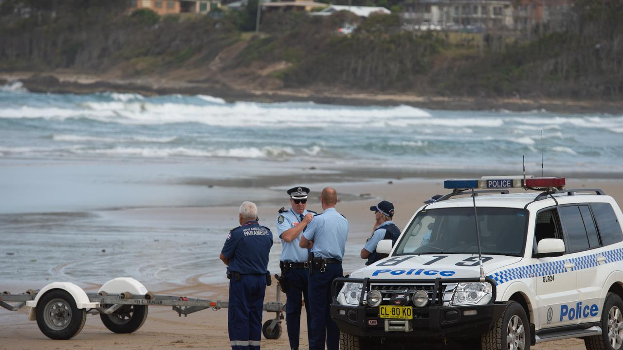 Emergency services on Woolgoolga Beach searching for missing swimmer in February last year.