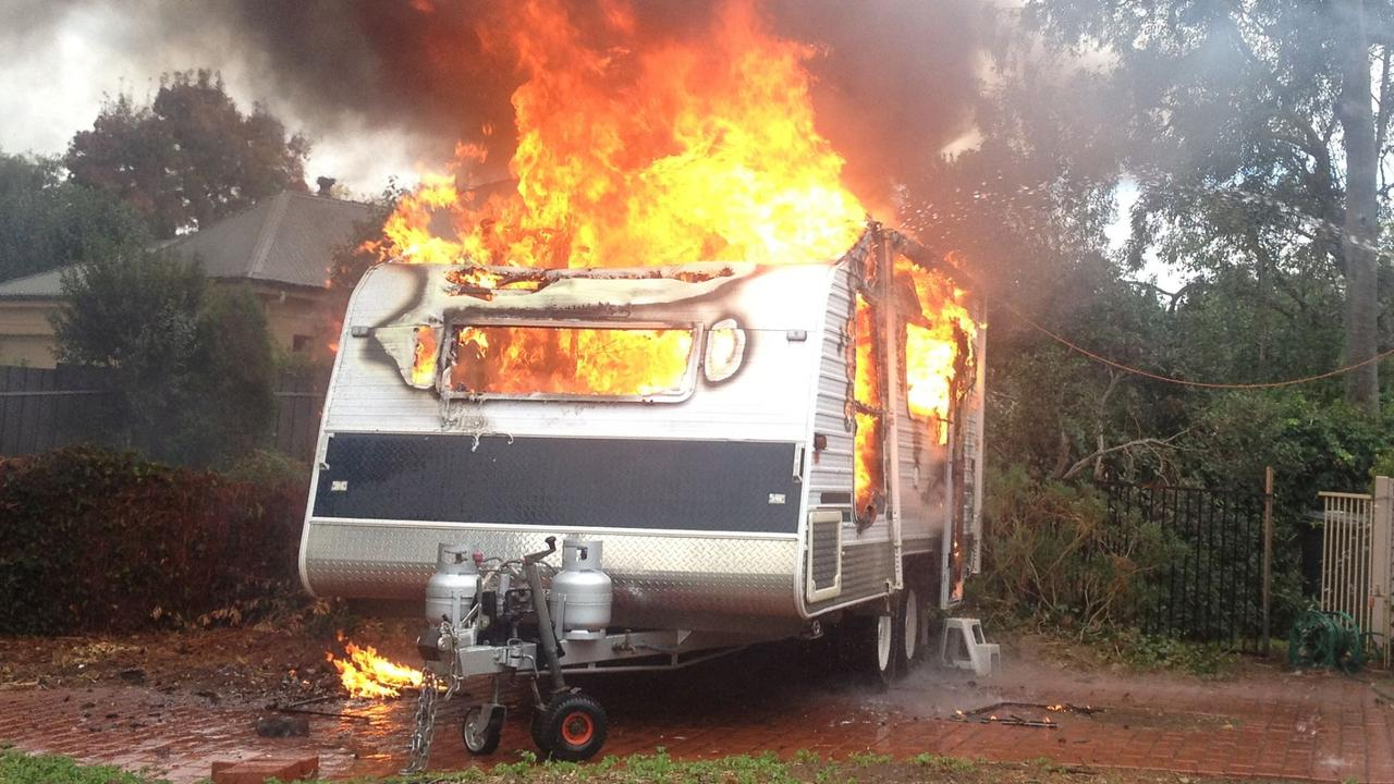A man was injured early this morning after his caravan caught alight in Biloela.
