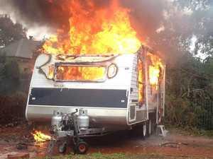 Man injured as pre-dawn fire breaks out in caravan