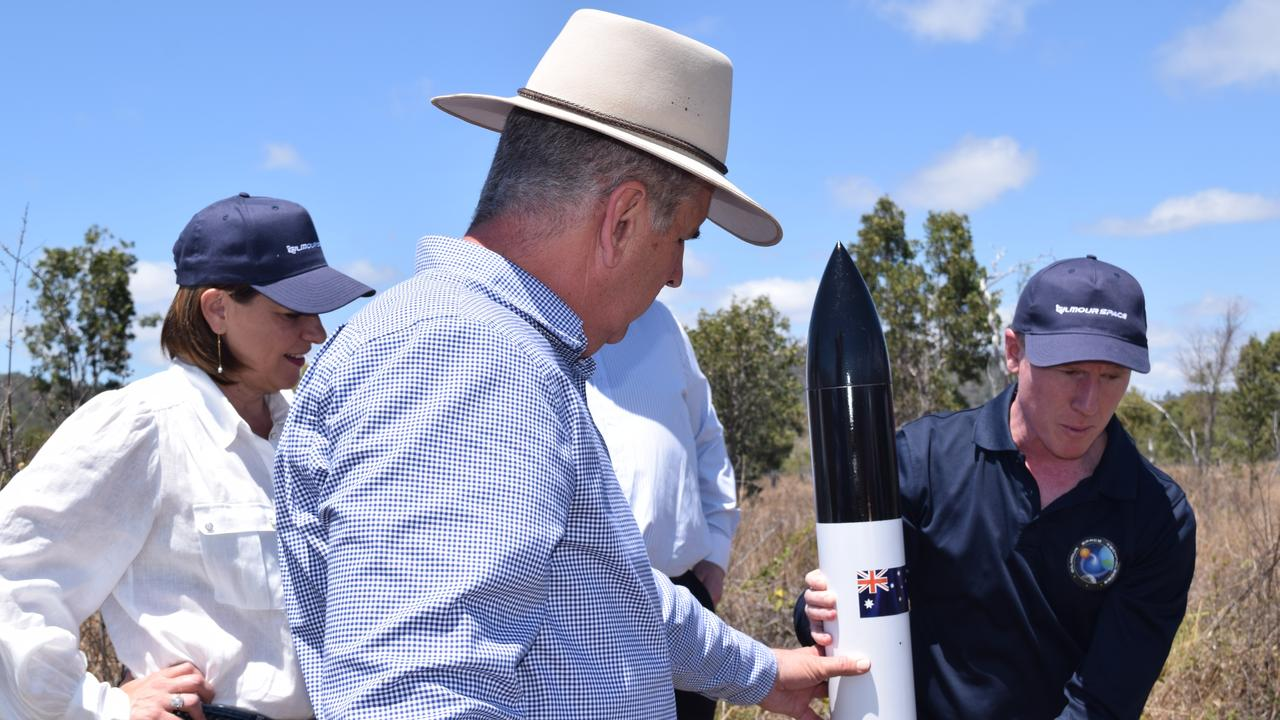 (From left) LNP Leader Deb Frecklington, Burdekin MP Dale Last and Gilmour Space Technologies co-founder and CEO Adam Gilmour announce a $15 million election commitment to build a rocket launch site near Abbot Point. Photo: Elyse Wurm