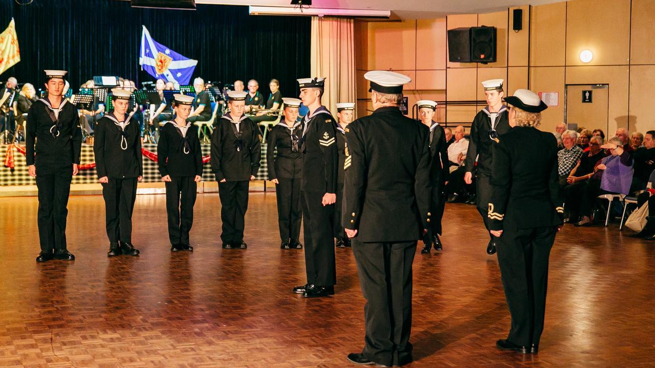 TS Lismore navy cadets on parade at the Ballina Tattoo.