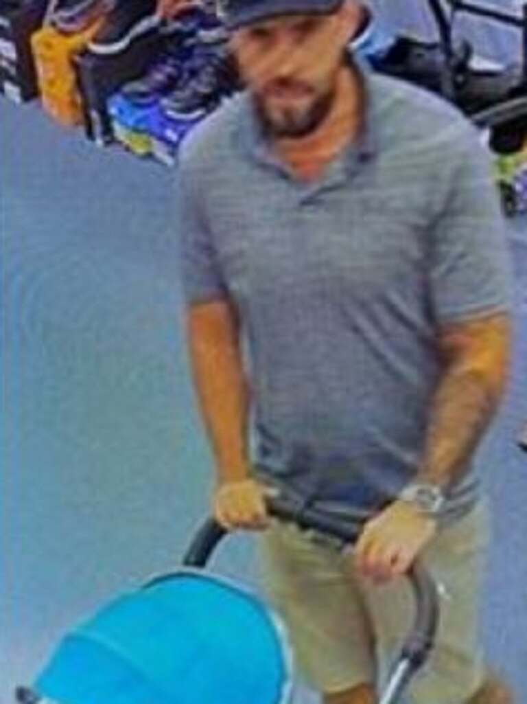 Police are seeking information regarding a man who allegedly used his child's pram to steal property from a Noosa sports store. Pictured: QPS