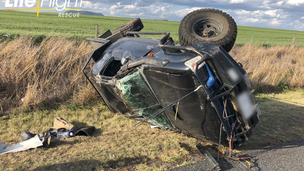 Warwick teen airlifted to hospital after Junabee crash. Picture: RACQ LifeFlight Media