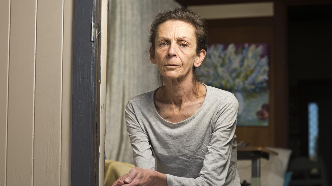 Kylie Kilroy at home after being kicked out of a privately run aged care home. Picture: Kevin Farmer