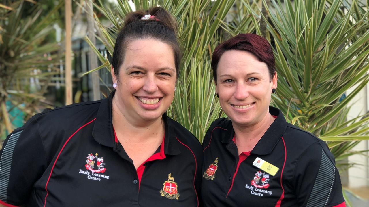 Rockhampton Grammar School Early Learning Centre senior toddler lead educator Leash Edwards and pre-kindy lead educator Melissa Gill.