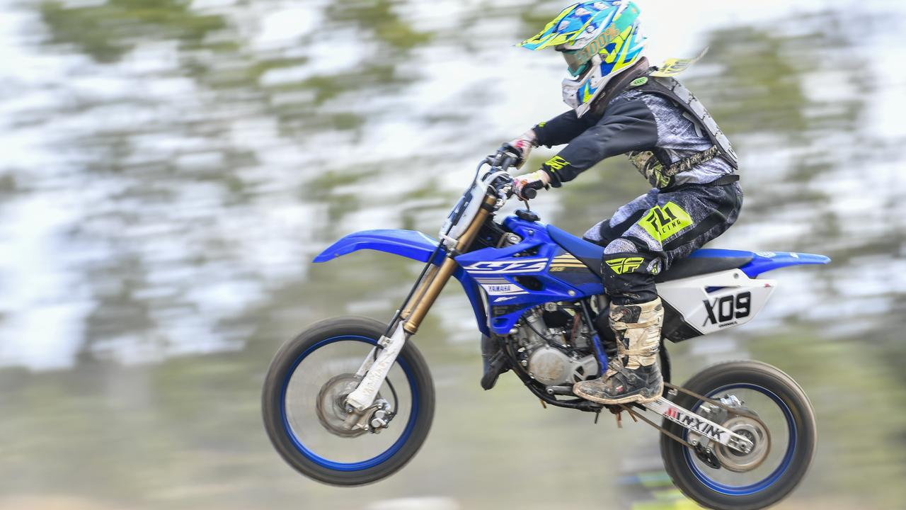 Daniel Doyle competing in the Mini Lites class at the MPE Central Queensland motorcross round 3 held at Benaraby Motorsports Complex.