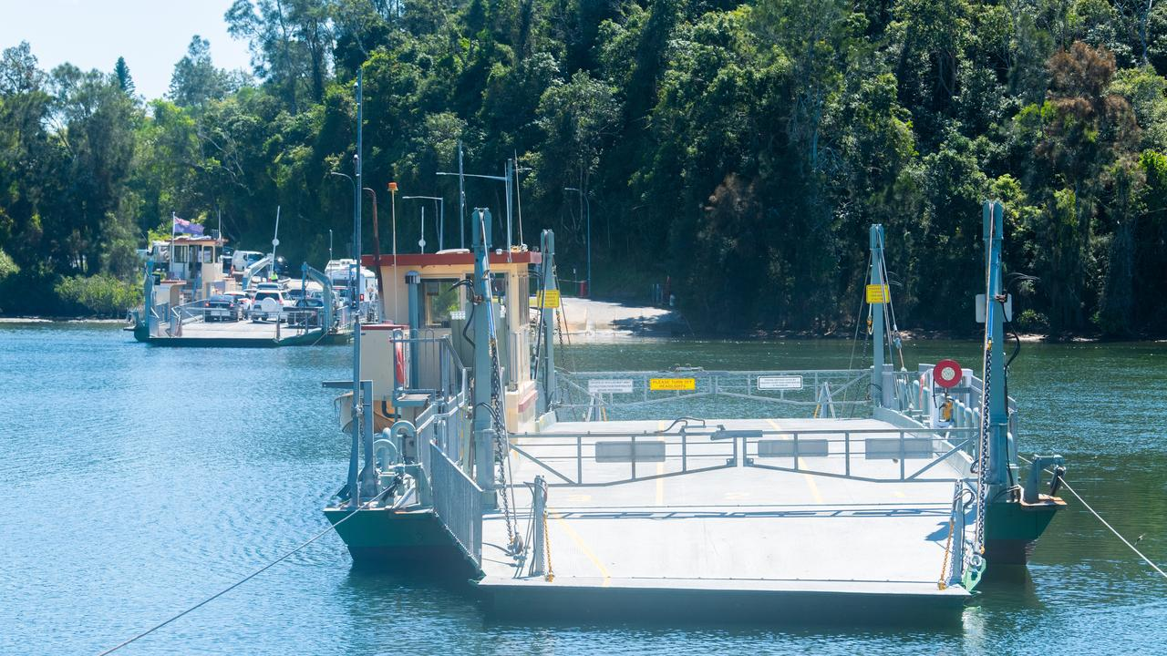 The Bluff Point Ferry after repairs were made when it lost a cable earlier in the morning
