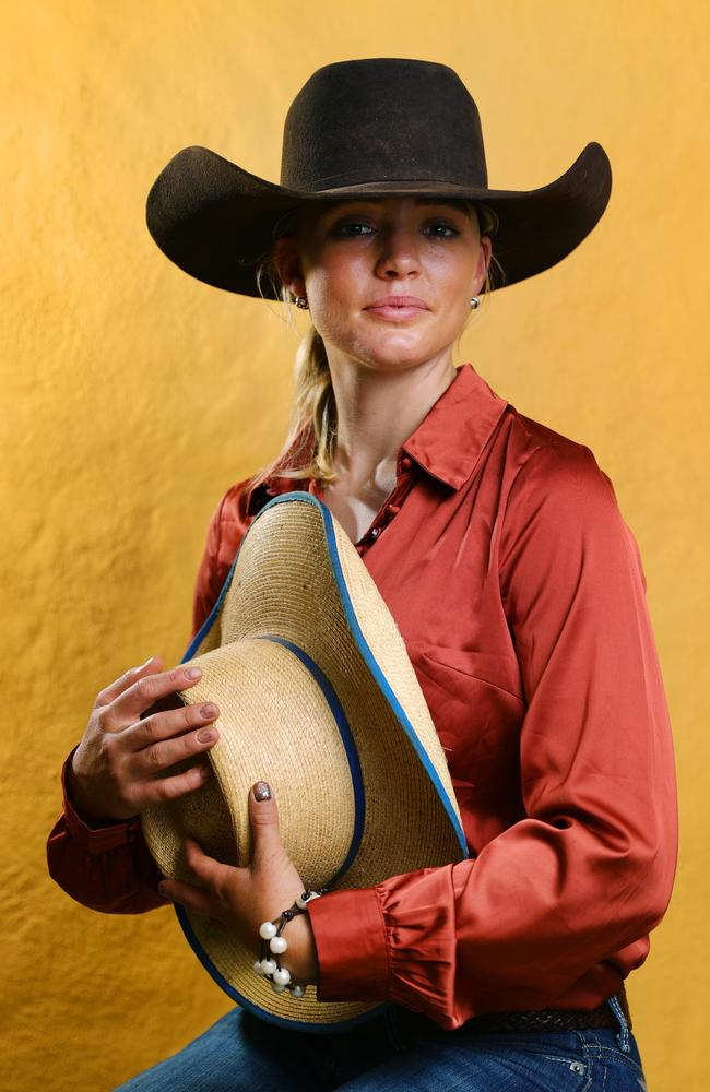 Dolly's sister Meg Everett, holding Dolly's hat. Picture: Lachie Millard