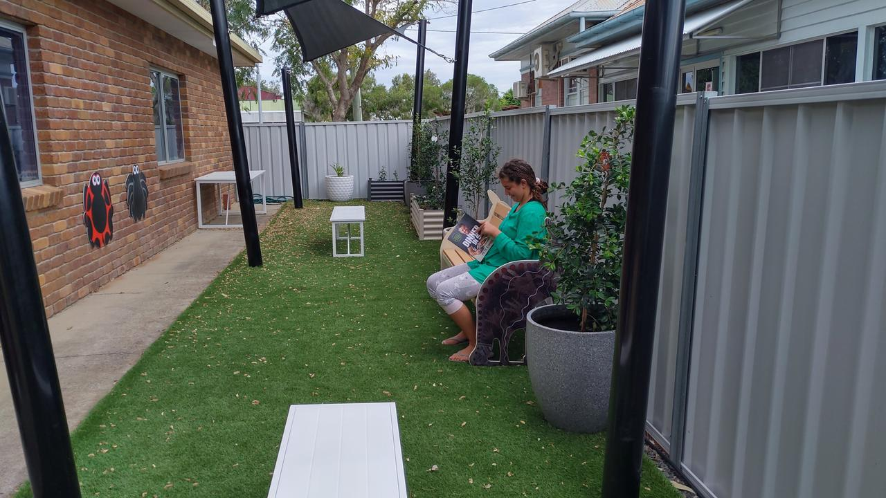 NEW LIBRARY SPACE: Laila Fedda enjoying the new outdoor space at Tara Library. Picture: WDRC