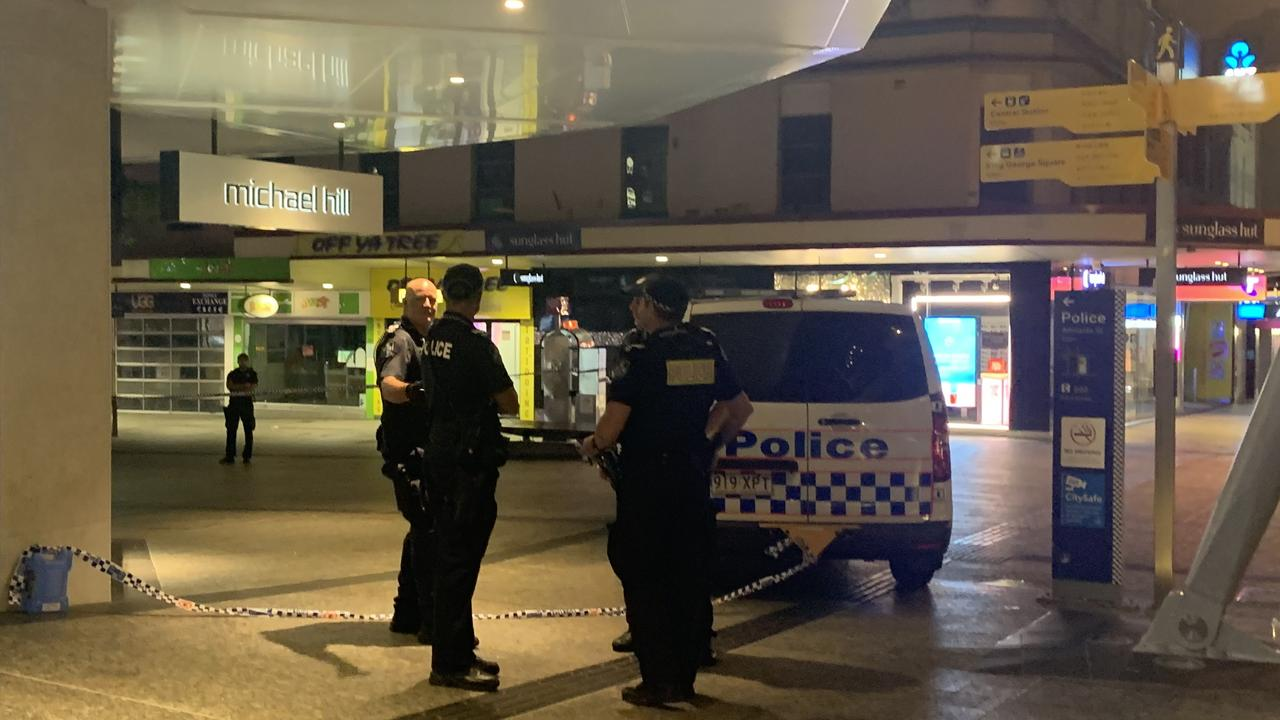 The crime scene in Queen Street Mall after a man was stabbed. Picture: Danielle O'Neal