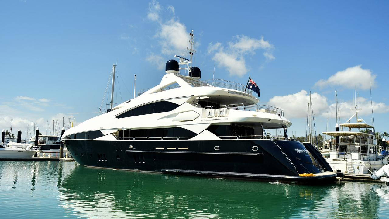 Clive Palmer's new $8.3m superyacht, a 121ft Sunseeker renamed 'Nancy Jean' moored in Breakwater Marina, Townsville. Picture: Alix Sweeney