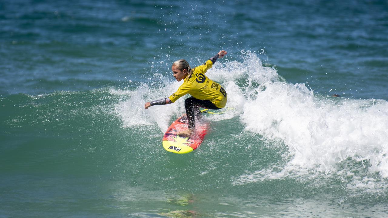 CHAMPION WAVERIDER: Leihani Kaloha Zoric (Byron Bay) put on an exciting display of surfing in the Under-12 Girls division to post an excellent 8.33 wave and win the final. Photo: Ethan Smith / Surfing NSW