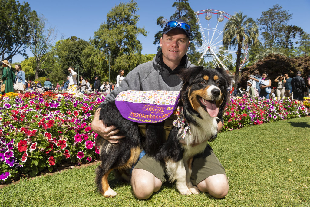 Image for sale: Carnival of Flowers 2020 ambassadog Rambo with owner Howard Du Plessis in Queens Park, Saturday, September 26, 2020. Picture: Kevin Farmer