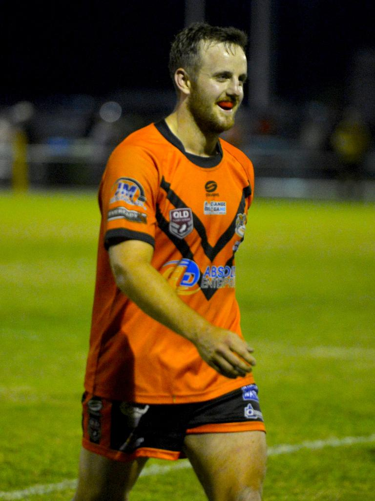 Wests player Kellen Jenner with a wry smile as he leaves the field after being sent off, following his match-sealing try against Carltons. Photo: Callum Dick