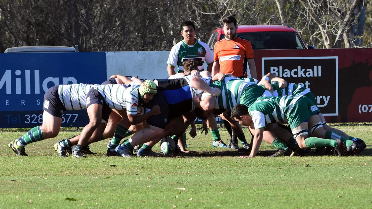 The Ipswich Rangers and Brisbane Irish packs muscle up in their Barber Cup rugby match at Woodend Park. Picture: Gary Reid