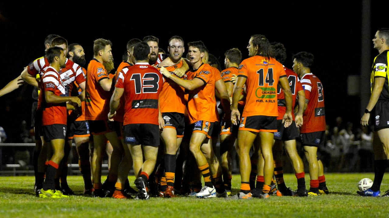 Tempers flared between Carltons Red Devils and Wests Tigers during the Rugby League Mackay & District A-Grade preliminary final on Saturday night. Photo: Callum Dick