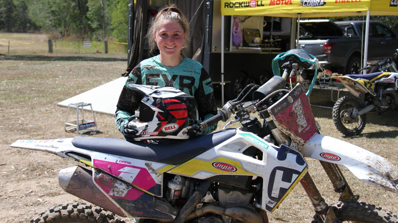 Queensland Women's motocross champion Tahlia Drew was practising at Benaraby raceway in preparation for the Queensland Women's and Veteran's Motocross Championship next month. Picture: Rodney Stevens