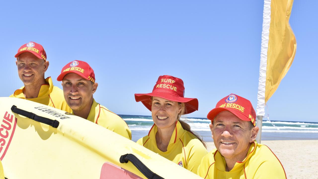 Salt Surf Life Saving Club's Sam Coleman, Jayd Maynard, Kerry Gunther and Nathan Fitzsimons at the beginning of the 20/21 season. Photo: Jessica Lamb