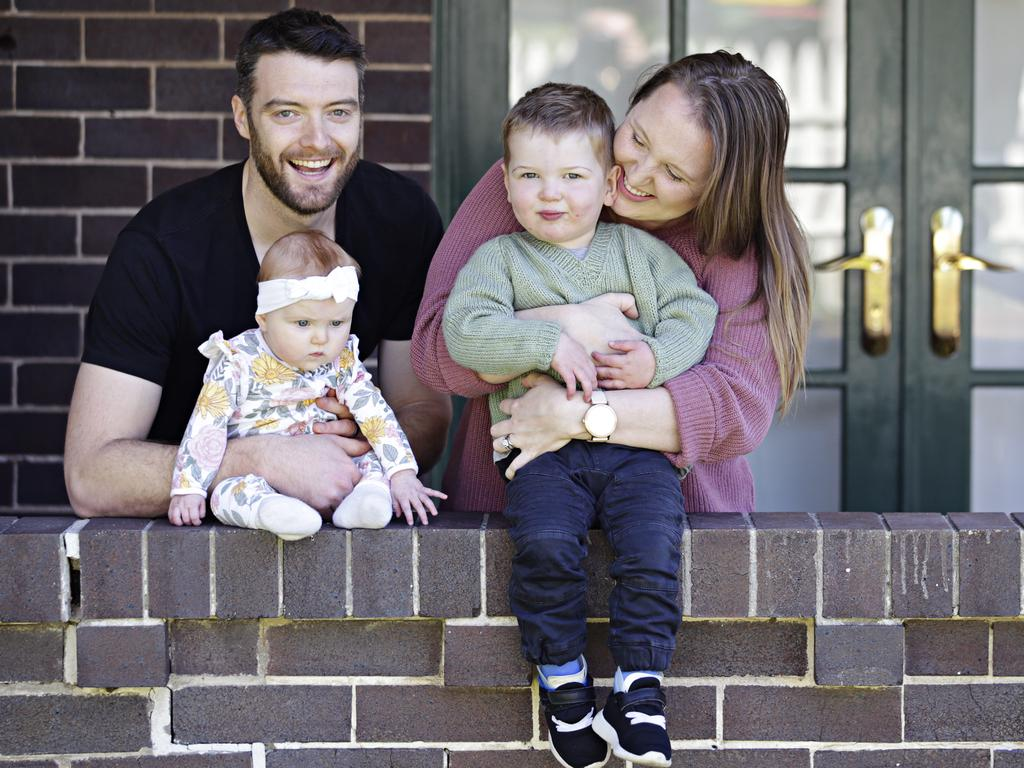 Rachel and Mitch Levingston with Asher, now two-and-a-half years old, and their six-month-old baby Hazel. Picture: Adam Yip