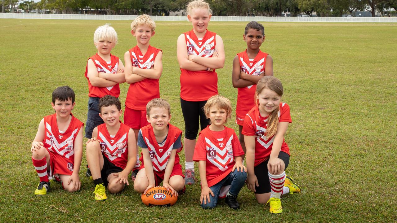 SHINING STARS: The Lismore Swans Junior Australian football Club Super Star players love getting out for a kick.