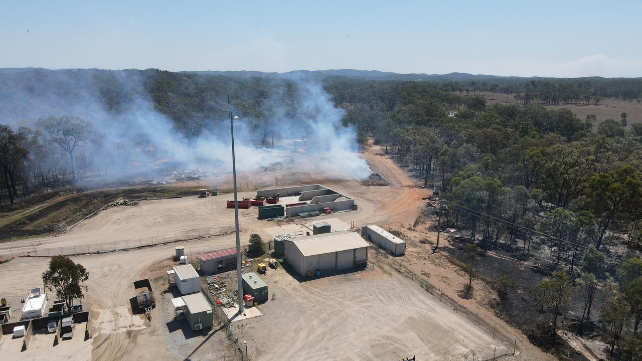 Fires burning at the Benaraby waste facility on September 27, 2020. Picture: Rodney Stevens DJI Mavic Air 2
