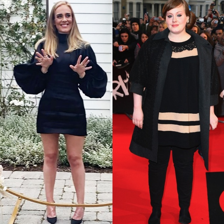 Adele in 2020, and before her weight loss in 2008. Picture: Instagram/Getty Images