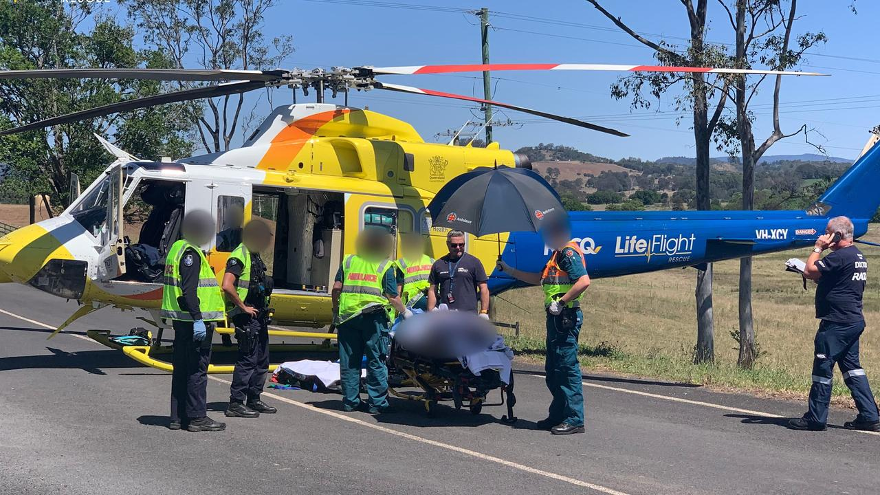 Three men have been taken to hospital following two separate motorbike crashes in the region. Photo: RACQ LifeFlight Rescue