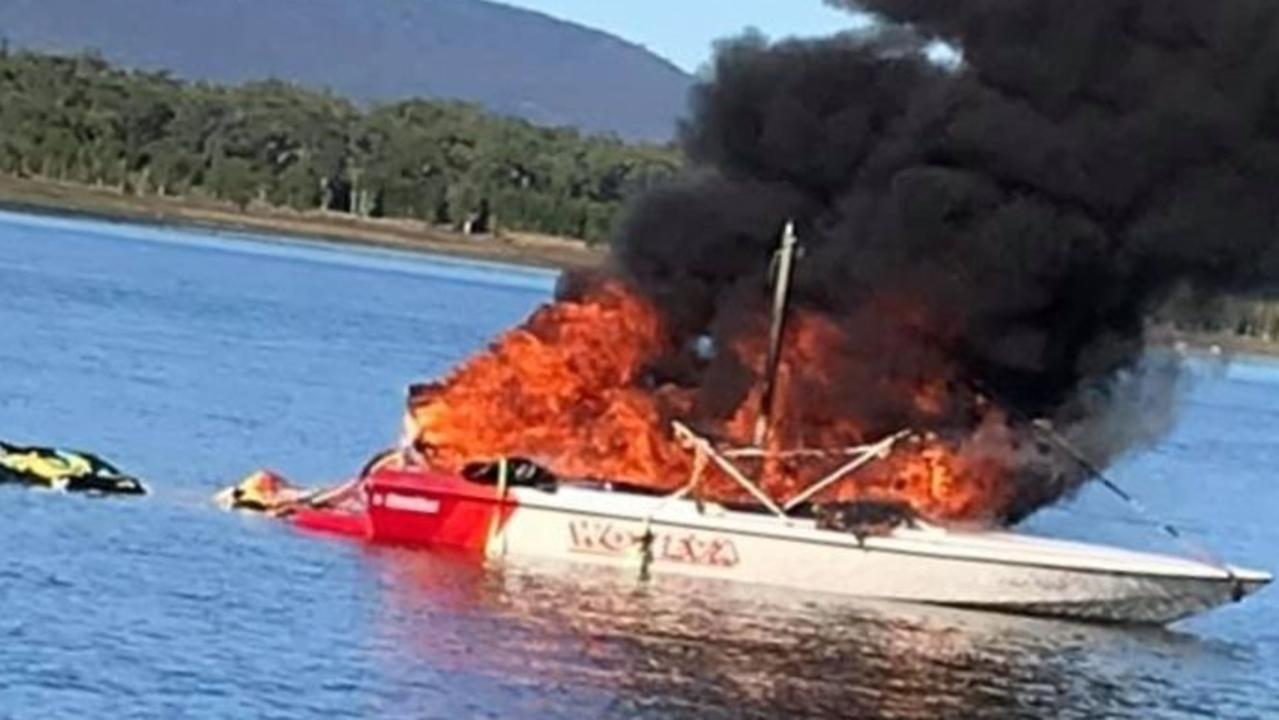 Boat fire at Peter Faust Dam.