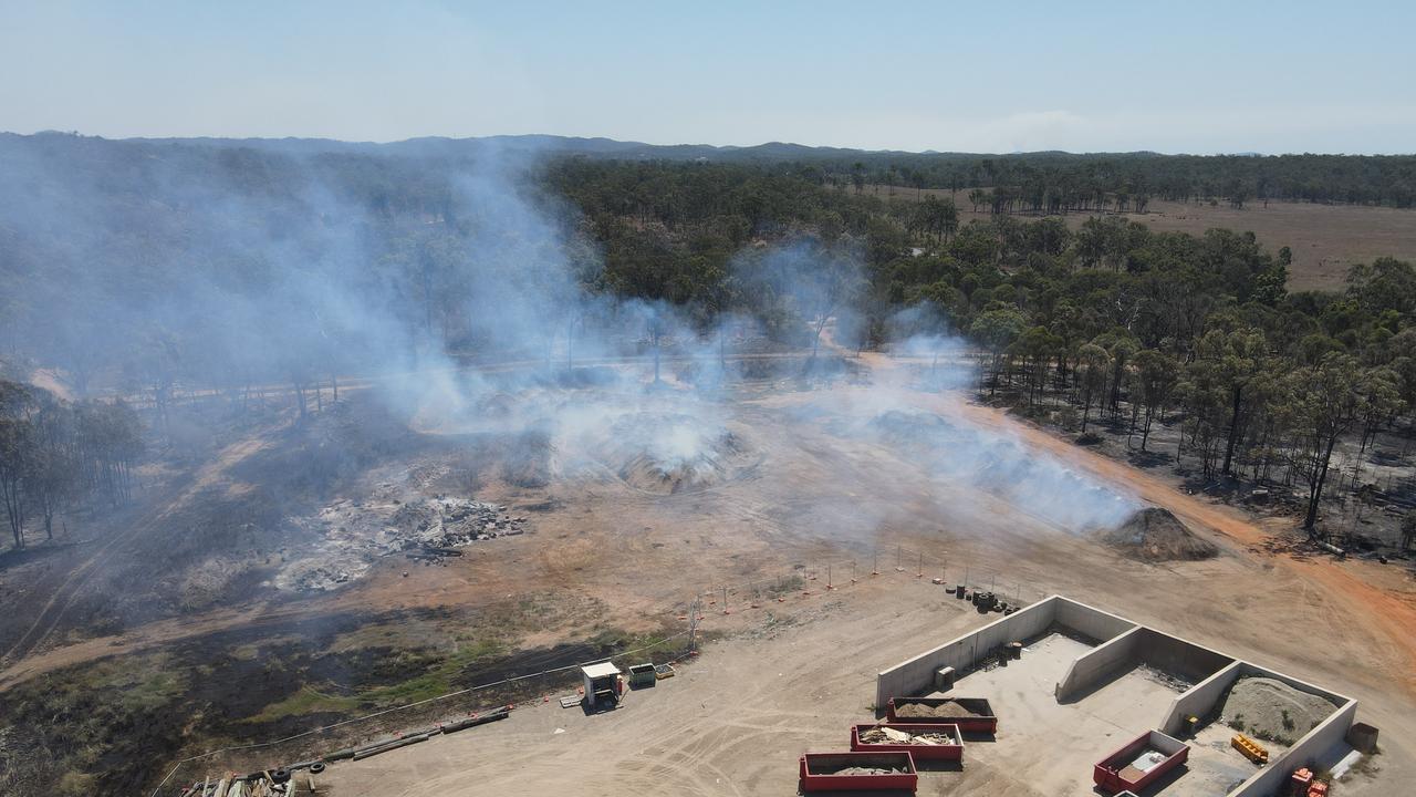 Fires burning at the Benaraby waste facility on September 27, 2020. Picture: Rodney Stevens DJI Mavic Air 2