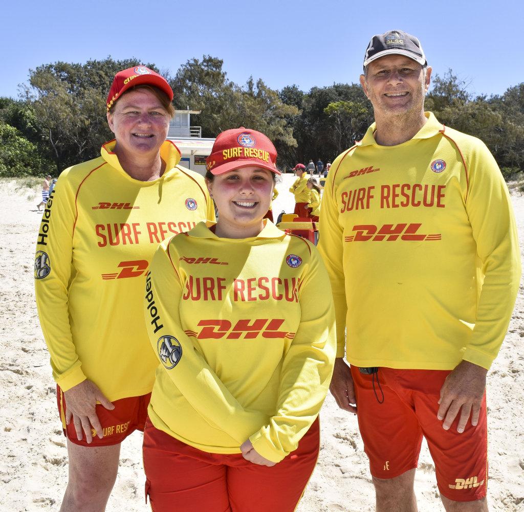 Image for sale: Salt Surf Life Saving Club's Belinda Mirana, Shantel Gregoraci and patrol captain Chris Gunther at the beginning of the 20/21 season. Photo: Jessica Lamb