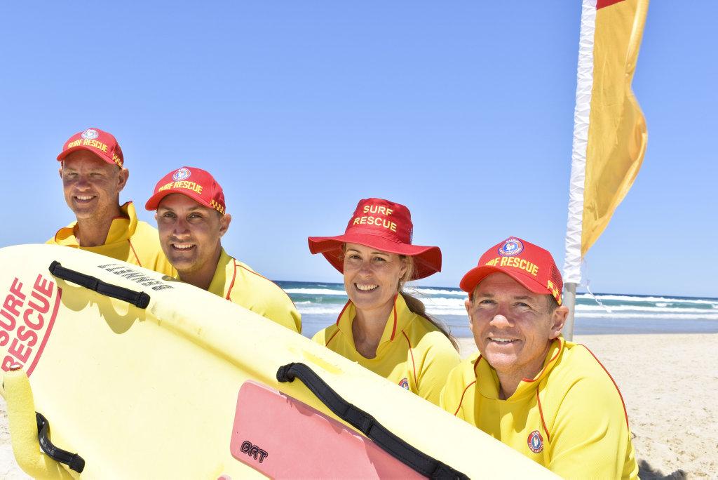 Image for sale: Salt Surf Life Saving Club's Sam Coleman, Jayd Maynard, Kerry Gunther and Nathan Fitzsimons at the beginning of the 20/21 season. Photo: Jessica Lamb