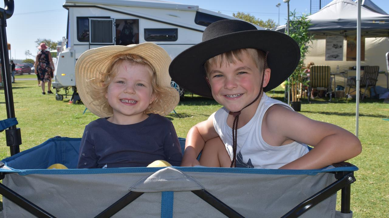 Pippa and Fletcher McCaughey enjoy the South Queensland Caravan, Camping, Fishing and 4WD Expo. Photo: Lucy Rutherford