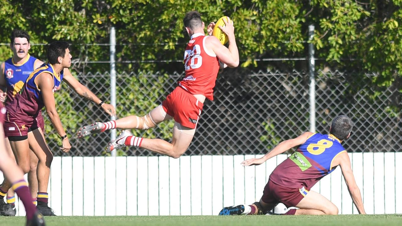 Yeppoon's Tommy Cossens launches into action in the semi-final against Glenmore at Swan Park. Photo: Jann Houley