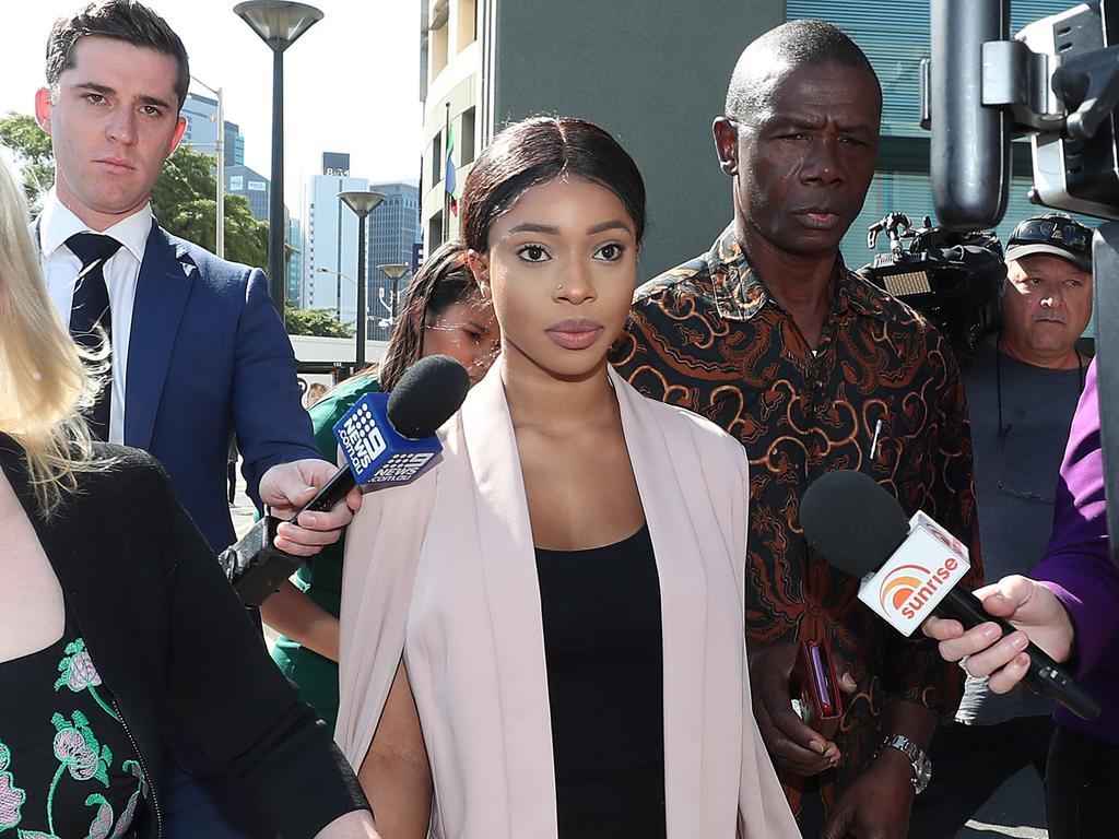 Haja Timbo arrives at the Brisbane Arrest Court. Pic Peter Wallis