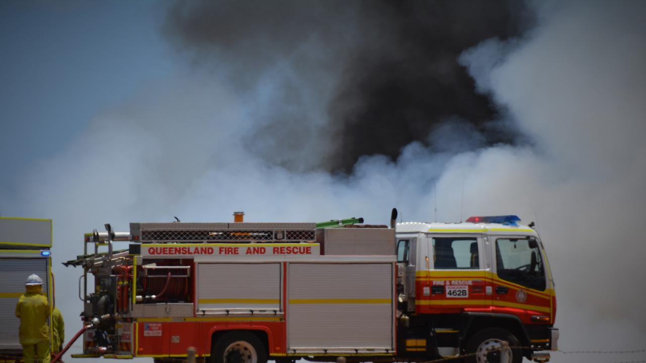 CAUGHT ALIGHT: A shed and caravan were on fire at a Dalveen property this morning. Picture: Kate McCormack
