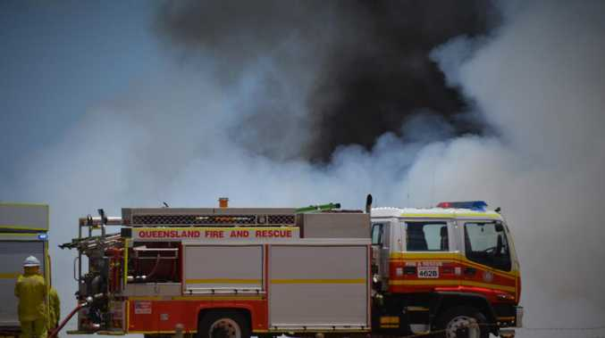 Shed, caravan on fire at Dalveen property