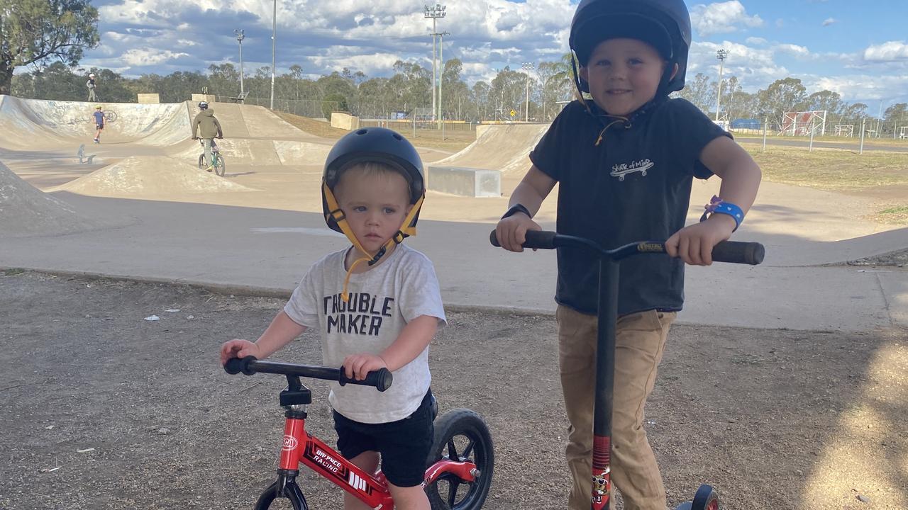 Oscar and Graysen Haidley at the Warwick skatepark.