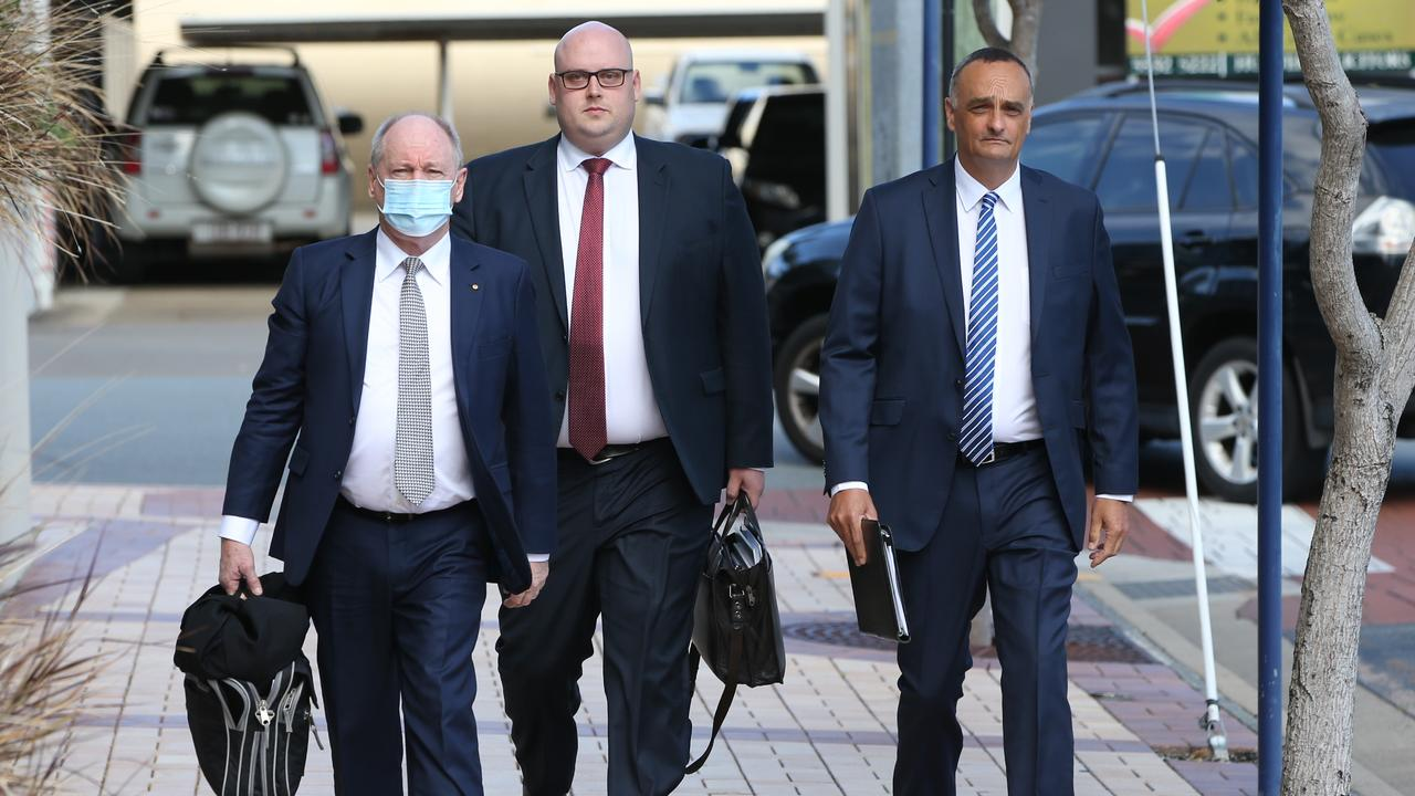 Dreamworld's legal team arriving for the sentencing hearing at Southport Court. Picture: Glenn Hampson.