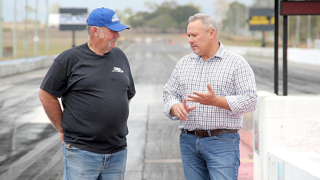 Palmyra Drag Racing Club president Glenn Cunningham with Mirani MP Stephen Andrew.