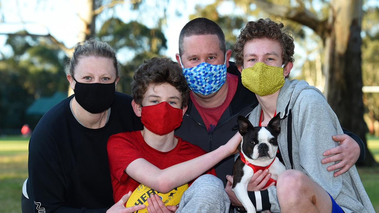The Urie family is all masked up. Picture: Josie Hayden