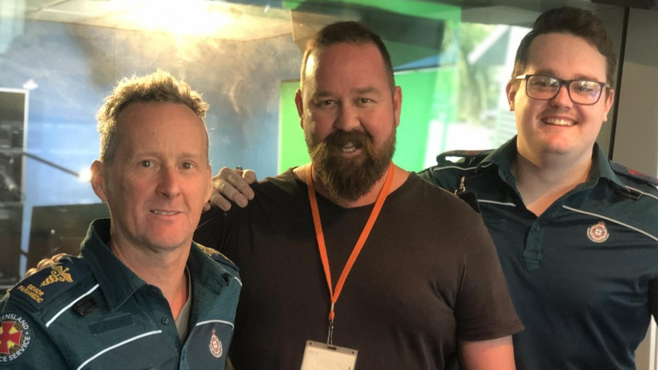 Hot 91 radio announcer Sam Coward was reunited with paramedics Joshua Tunley (right) and Rick Kirkpatrick who helped save his life.