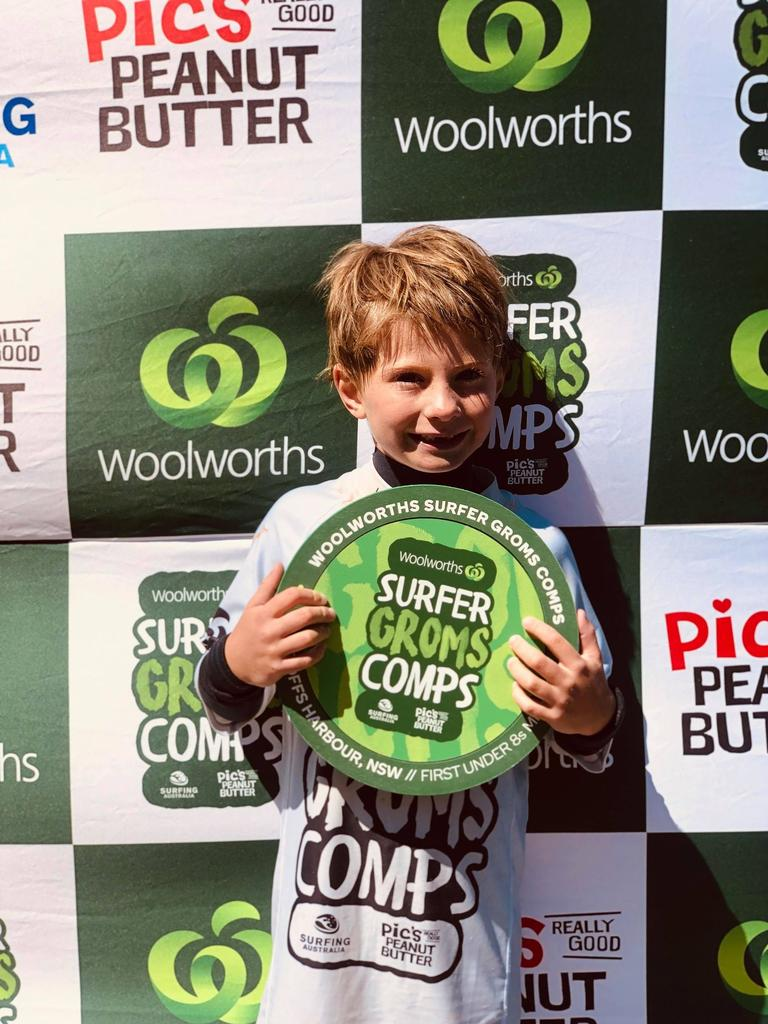 Phoenix Talbot after winning the Woolworths Gromsearch under 8's event at Coffs Harbour