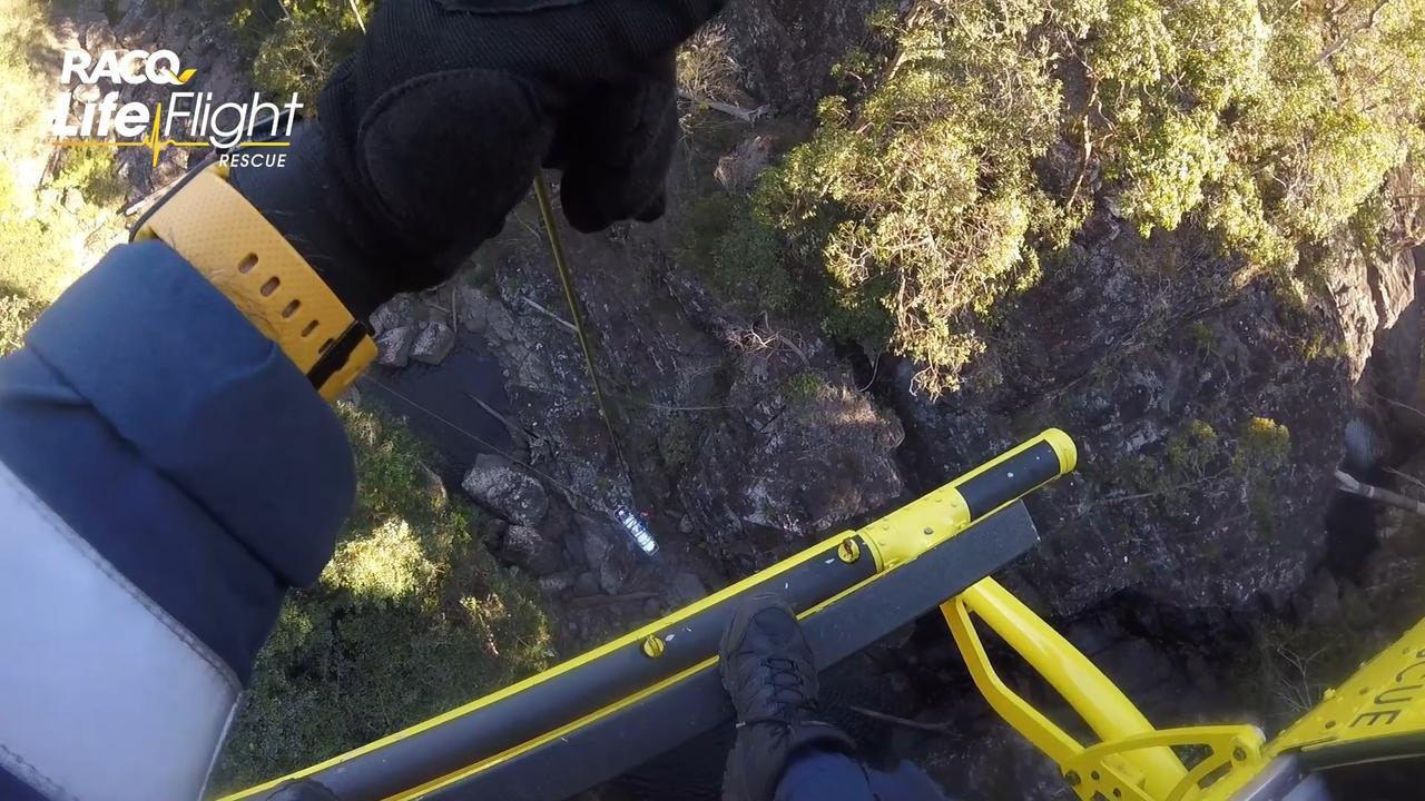 The Sunshine Coast-based RACQ LifeFlight Rescue crew winching the man. Photo: RACQ LifeFlight Rescue