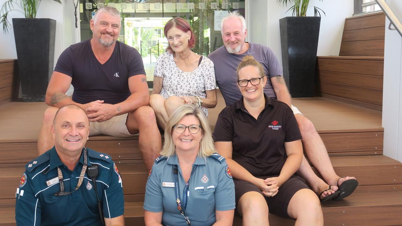 (Back) Keith Hamelink, Susan Kendall, her husband Alan Kendall and (front) Ian Day, Jen Wheeler and Dana Clark All played a major role in saving her life after she fell through a glass door at the Reef Resort, Port Douglas on August 15.
