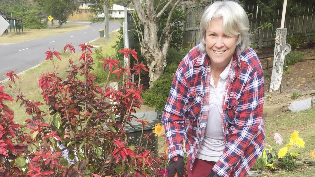 Colleen Krapkat, busy at Mt Larcom Garden Working Bee.