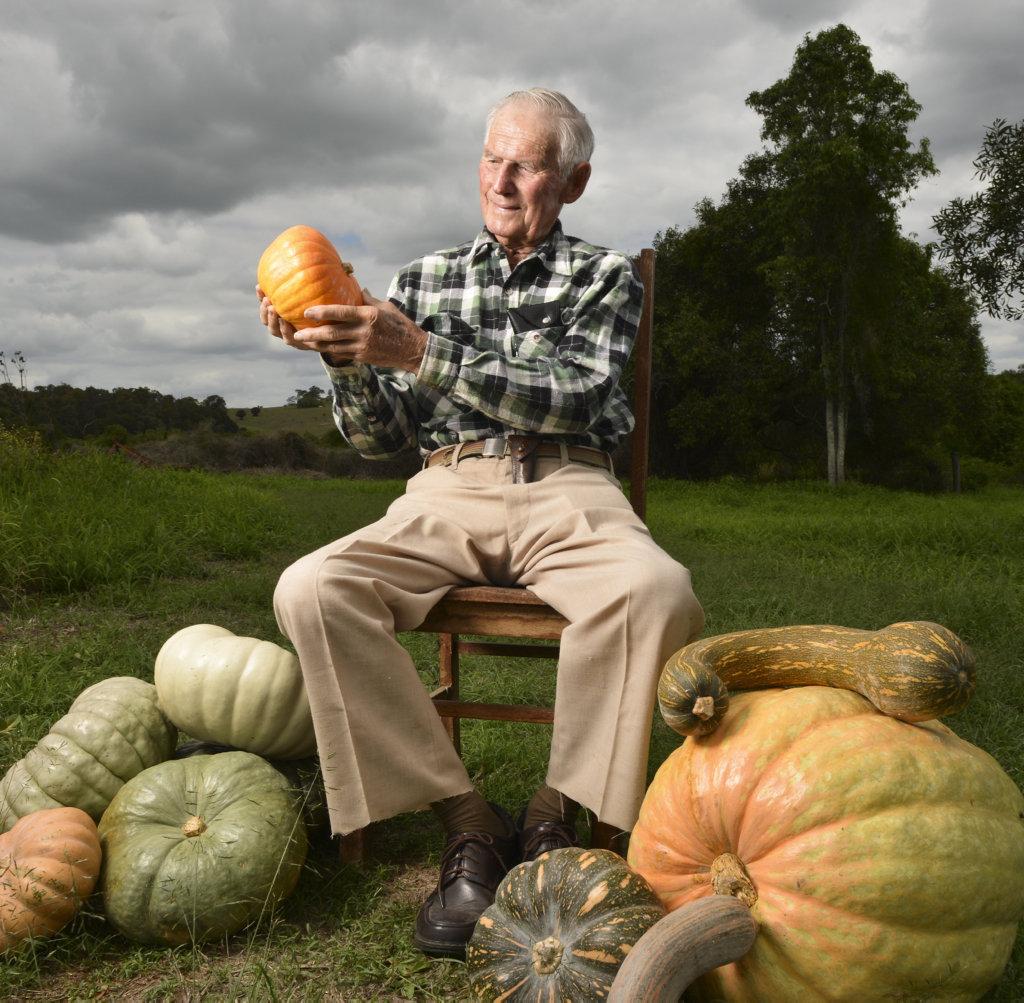 Image for sale: Syd Haag on his pumpkin farm.