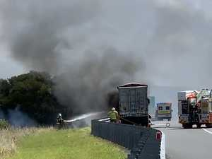 Crews battle blaze after truck went up in flames on highway