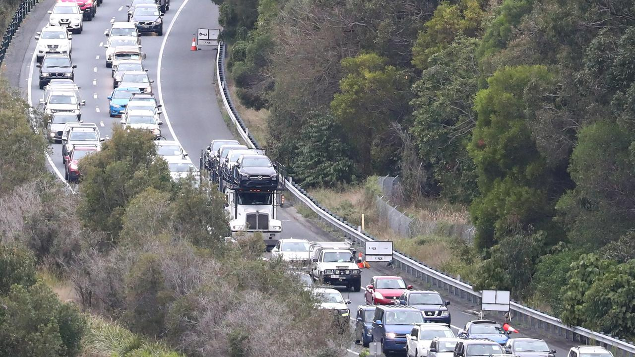 Traffic at the border crossing from NSW into Queensland. File picture: Jason O'Brien