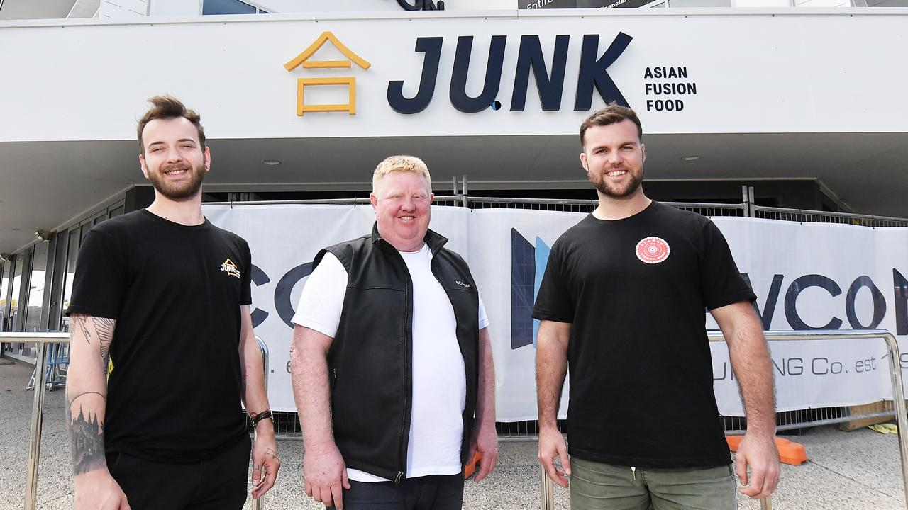 Junk's head chef Lucas Doocey, owner Scott Hoskins and owner and restaurant manager Luke O'Keefe outside the Sunshine Coast's second Junk restaurant coming soon to Buddina. Photo: Patrick Woods