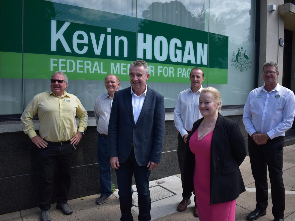 Page MP Kevin Hogan, Lismore Council mayor Isaac Smith, Lismore general manager Shelley Oldham, Kyogle general manager Vaughan Macdonald, Kyogle deputy mayor John Burley and councillor Earle Grundy.